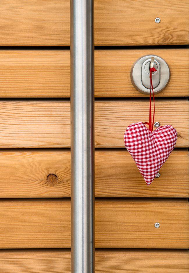 Holztür mit Aluminiumgriff